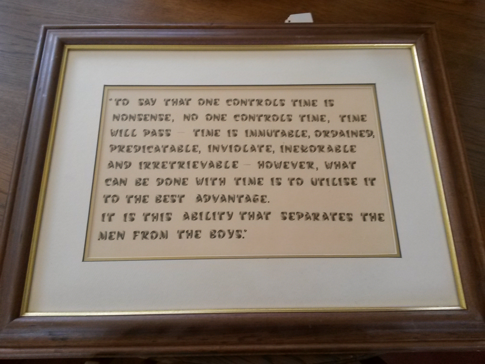 Wooden frame with wording